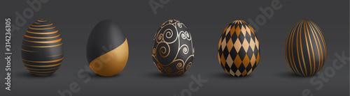 Stampa su Tela Set of 3d elegant vintage ornamental black and gold pattern easter eggs isolated
