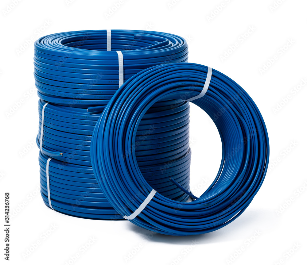 Fototapeta coils of blue cable isolated on white background