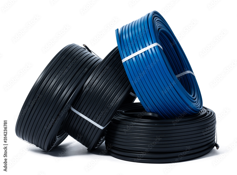 Fototapeta Coils of black and blue cable isolated on white background