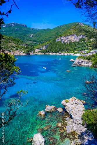 Paleokastritsa - Paradise coastline scenery with crystal clear azure water in Ba Canvas Print