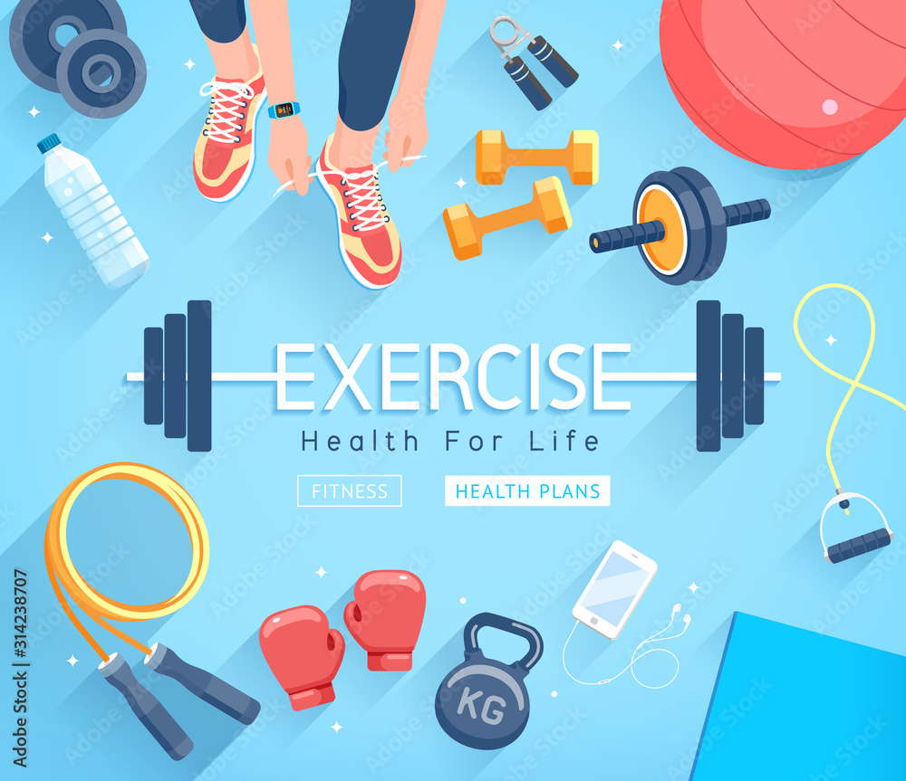 Fototapeta Exercises conceptual design. Young people doing workout. Sport Fitness banner promotion vector Illustrations.