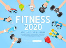 Exercises 2020 Conceptual Design. Set Of Young People Doing Workout. Sport Fitness Banner Promotion Vector Illustrations.