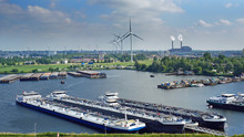 Dutch Waterway , Barges And Factories