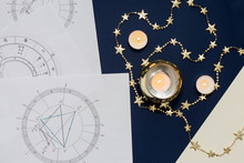 Astrological Natal Chart On A Blue Background