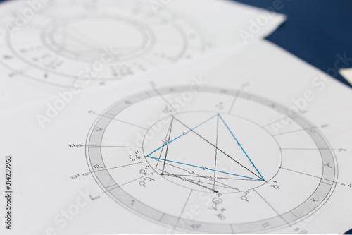 Photo Astrological natal chart on a blue background