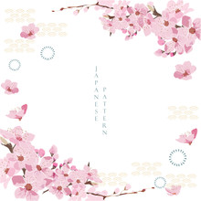 Cherry Blossom Template With Japanese Wave Elements Vector. Flower Background Decoration.