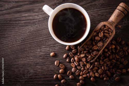 Fototapeta ホットコーヒーとコーヒー豆