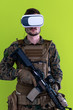 canvas print picture soldier virtual reality green background