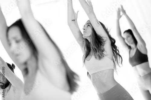 Obraz Group of young sporty attractive women in yoga studio, practicing yoga lesson with instructor, standing, stretching and relaxing after workout . Healthy active lifestyle, working out. Black and white. - fototapety do salonu