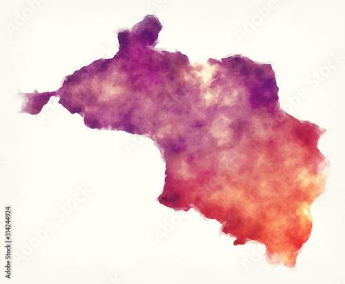 Fototapeta  Narayani administrative zone watercolor map of Nepal