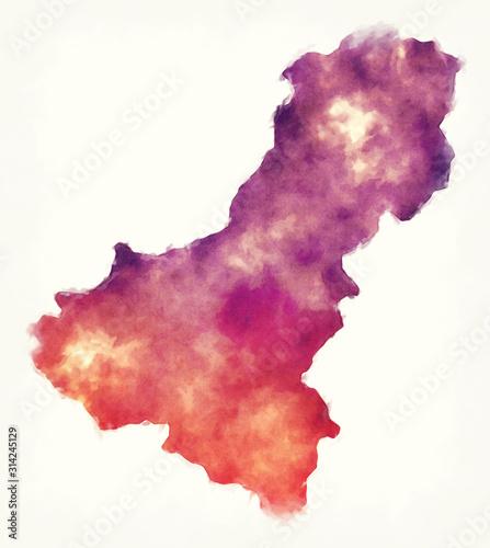 Fotografie, Obraz  Dhawalagiri administrative zone watercolor map of Nepal