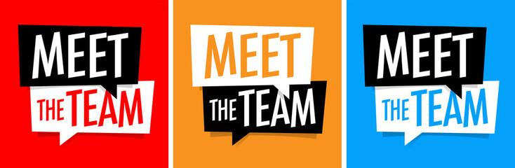 Meet the team on speech bubble