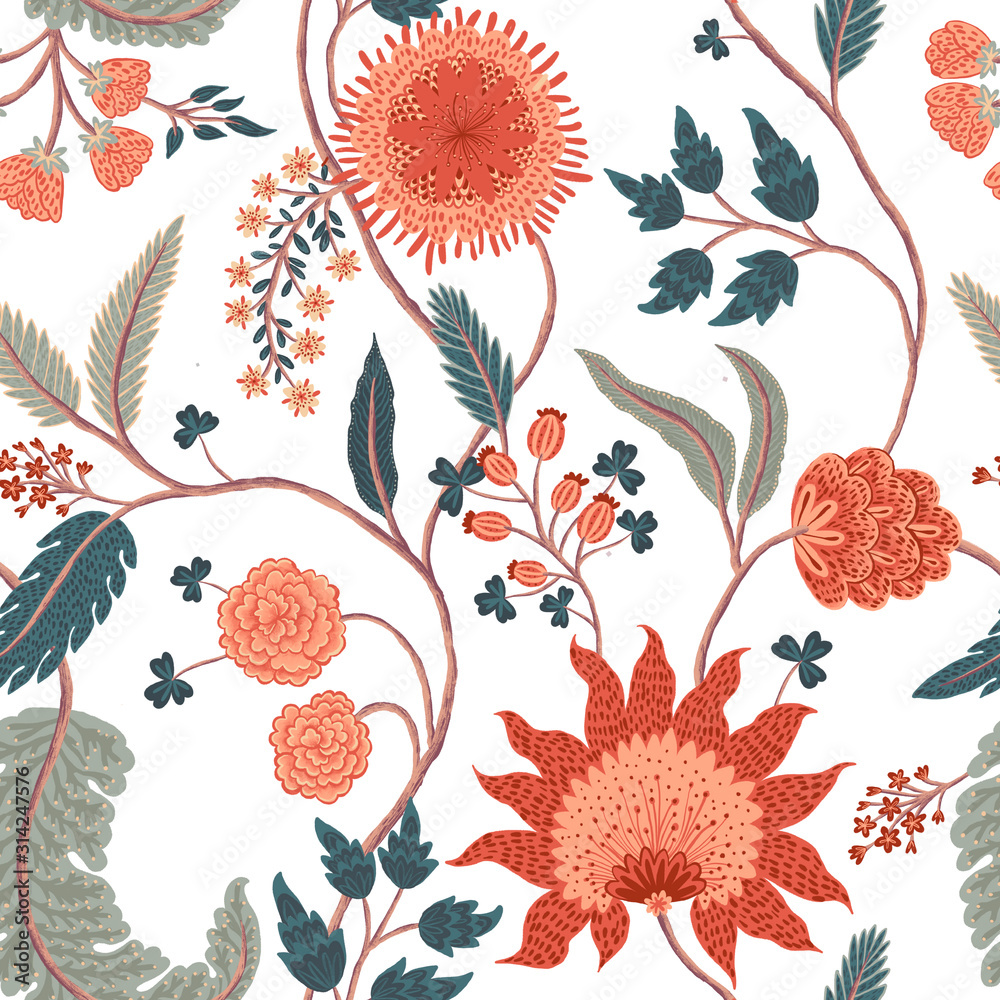 Floral pattern on white background. Watercolor print. Seamless texture. Elegant template for fashion prints. Printing with in hand drawn styleй-2