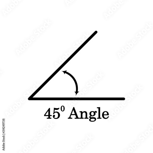 45 degree angle icon, isolated on white, vector illustration. Canvas Print