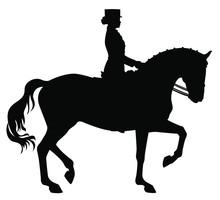 Elegant Woman Riding Dressage Horse Silhouette