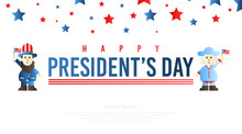 Abraham Lincoln And George Washington Cartoon In President's Day Illustration Vector