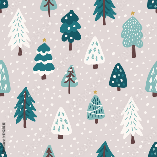 tlo-wzor-ladny-skandynawski-choinki-z-recznie-rysowane-snowy-jodly-las
