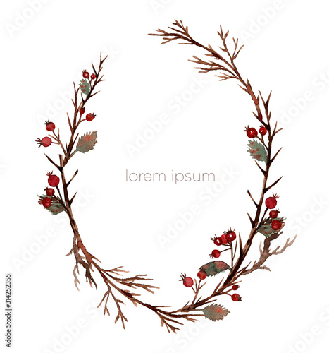 Fotografia Watercolor forest wreath of branches hawthorn and twigs