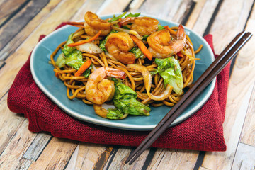 asian food noodles on the table