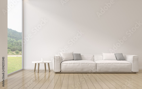 Obraz Perspective of modern luxury living room with white sofa on nature background, Minimal, Interior idea of large window. - 3D rendering. - fototapety do salonu