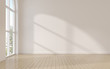 canvas print picture - Mock-up of white empty room tihe arch window and wood laminate floor, sun light cast the shadow on the wall,Perspective of minimal inteior design. 3D rendering