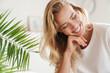 Leinwandbild Motiv Smiling young beautiful blonde woman wearing t-shirt