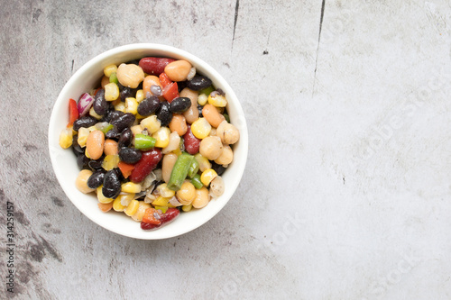 Fototapeta Healthy Four Bean Salad in a Bowl obraz