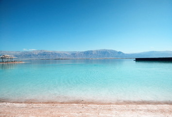 View on the salty Dead Sea in Israel