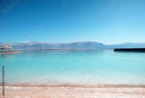 Obraz View on the salty Dead Sea in Israel - fototapety do salonu