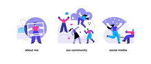 Blogging Concepts Set. About Me, Our Community, Social Media. Mobile App Page Set Templates. Flat Vector Illustration