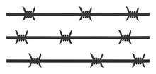 Barbwire Fence Vector Icon. Fl...