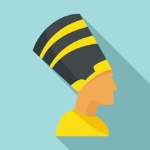 Egypt Pharaoh Icon. Flat Illustration Of Egypt Pharaoh Vector Icon For Web Design