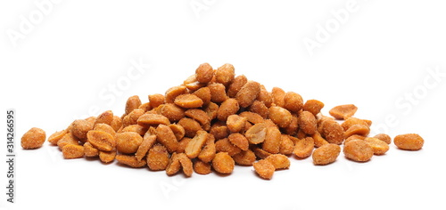 Spicy peanuts pile isolated on white background Wallpaper Mural