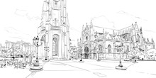 Basilica Of Saint-Michel. Bordeaux. France. Hand Drawn Sketch. Vector Illustration.