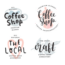 Coffee Shop Or Bar Logotypes, Isolated Vector Labels, Trendy Pastel Colored Illustrations, Lettering Logotypes, Script Calligraphy With Flat Stamp Drawing As Backdrop. Modern Templates For Cafe Brand.