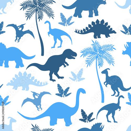 Seamless pattern with colorful blue dinosaur silhouettes Tapéta, Fotótapéta