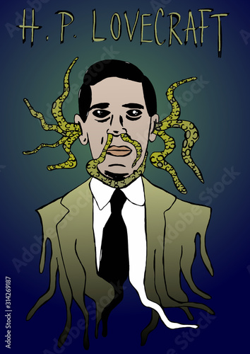 H.P. Lovecraft horror portrait Canvas Print