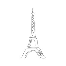 One Line Eiffel Tower Design Silhouette. Hand Drawn Minimalism Style Vector Illustration.