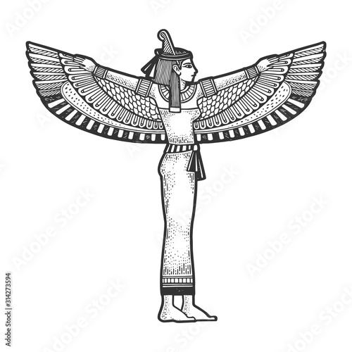 Fotomural Isis Ancient Egyptian Mother goddess sketch engraving vector illustration