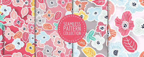 Floral seamless pattern collection. Vector design for paper, fabric, interior decor and cover