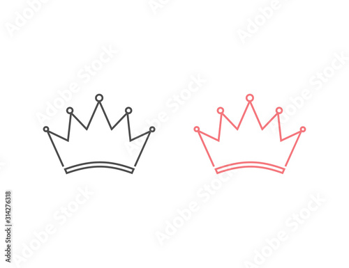 Crown Logo Template. Line icon set. Vector illustration Flat Canvas Print