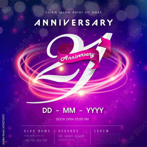 Papel de parede 21 years anniversary logo template on purple Abstract futuristic space background