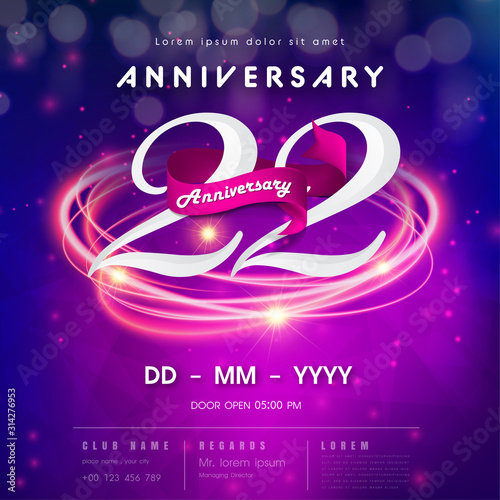 Papel de parede  22 years anniversary logo template on purple Abstract futuristic space background