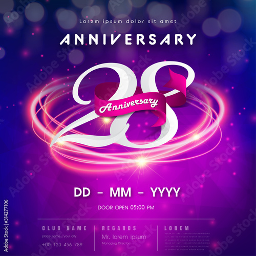 Fotografia  28 years anniversary logo template on purple Abstract futuristic space background