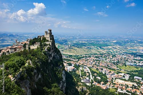 Guaita fortress of San Marino with panoramic landscape