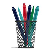 Pen In A Holder Basket, Office...