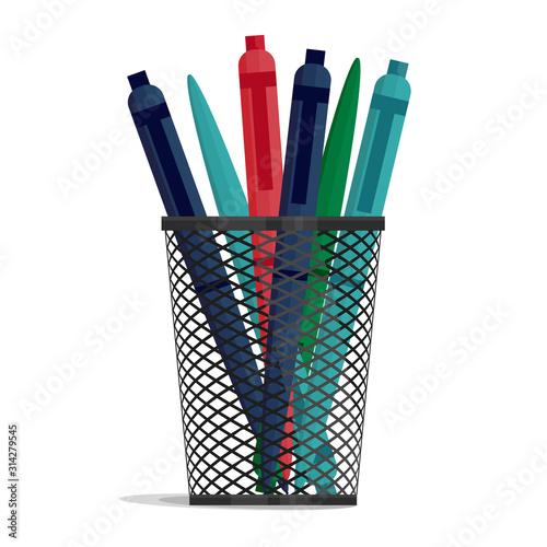 Fototapeta  Pen in a holder basket, office organizer box