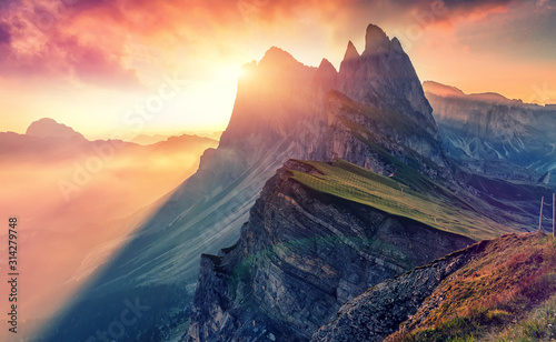 Colorful evening Scene at Gardena valley during sunset Wallpaper Mural