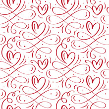 Cute Calligraphy Hearts Seamless Vector Pattern With Flourish Swirl. Valentine Poster Background. Hand Drawn Different Heart And Floral Elements. Wedding Invitation