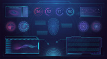 Head-up Display Template With Futuristic User Interface Elements On Dark Blue Background, With Digits, Graphs And Windows With Text Floating On Wide Screen. Vector Illustration